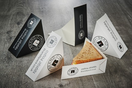 Flat pack, branded sandwich boxes
