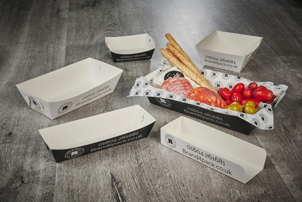 Branded flat pack deli food trays