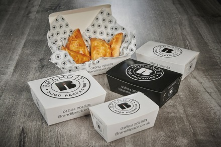 Flat pack, branded deli food boxes
