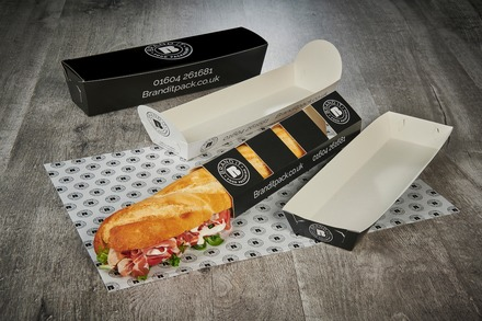 Flat pack, branded baguette trays